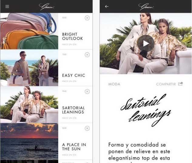Capturas de pantalla de la App Gucci Style.