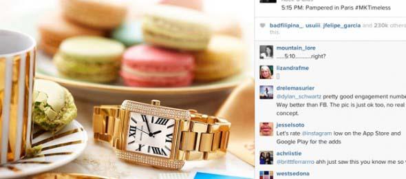 Primer anuncio en Instagram. De Michael Kors.