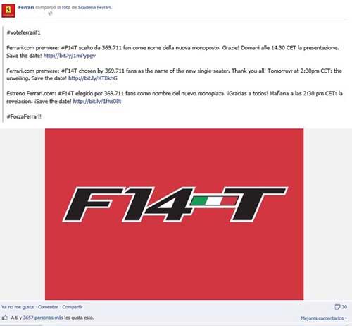 Imagen con la que Ferrari anunciA? el viernes en las redes sociales el nombre del nuevo monoplaza con el que competirA? este aAi??o en F1.