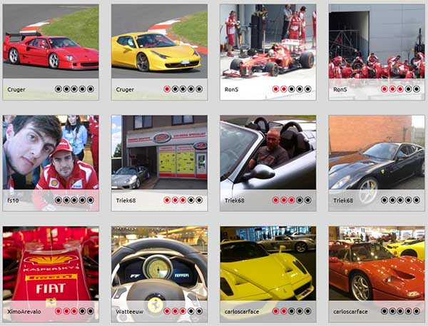 Algunas de las fotos participantes en el concurso de Ferrari 'Snap your Passion'.