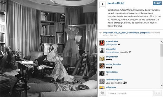 Imagen del despacho de Jeanne Lanvin compartida en Instagram el jueves 16 de enero.