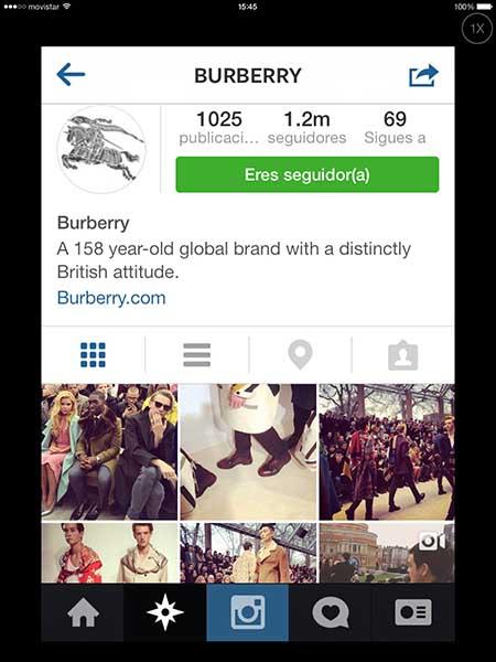 Perfil de Burberry en Instagram.