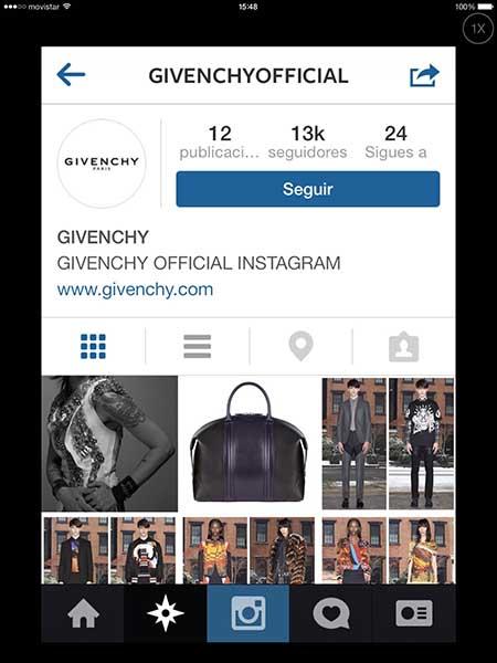 Perfil de Givenchy en Instagram.