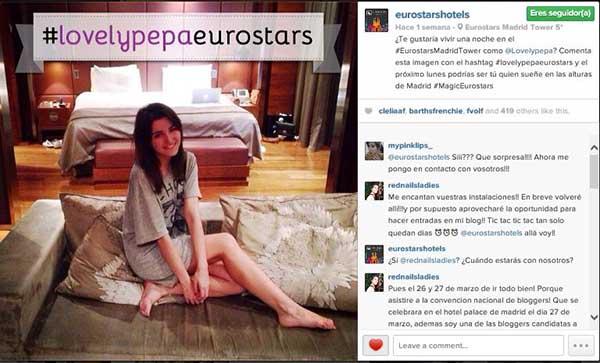 Sorteo en Instagram de Eurostars Madrid Tower con la colaboraciA?n de la blogger de moda Lovely Pepa.