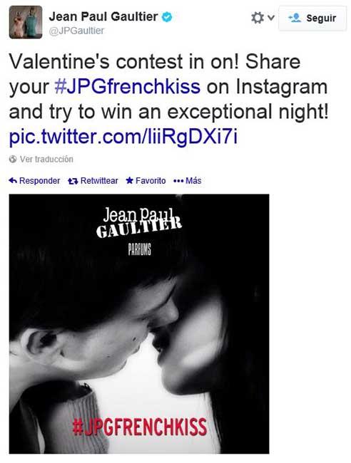 Jean Paul Gautier dando visibilidad al concurso en su perfil de Twitter.