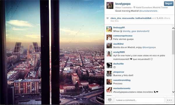Imagen que subiA? Lovely Pepa a su perfil en Instagram, tomada desde el Eurostars Madrid Tower.
