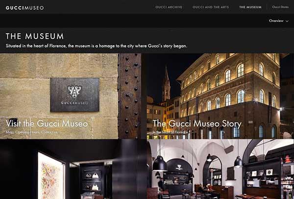 Captura de pantalla de la nueva web de Gucci dedicada a su Museo.