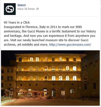 PublicaciA?n de Gucci en Facebook para dar a conocer la nueva web dedicada a su Museo.