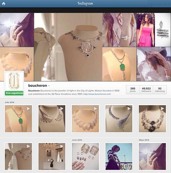 Captura de pantalla del perfil de Boucheron en Instagram donde pueden verse los A?ltimos vAi??deos compartidos.