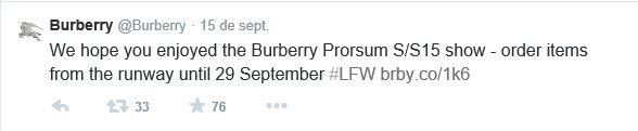 Post en Twitter donde Burberry anunciaba la  venta online por un tiempo limitado de la colecciA?n primavera-verano 2015.