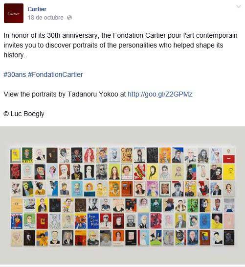 Cartier anunciando en su fan page la exposiciA?n de Tadanori Yokoo.