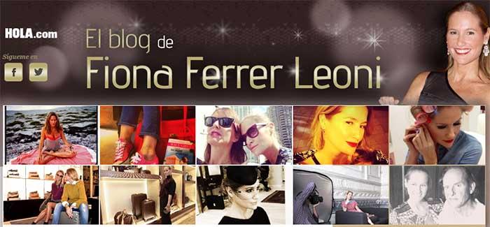 Captura de pantalla del blog de Fiona Ferrer Leoni, una de las bloggeras reconocidas de nuestro paAi??s.