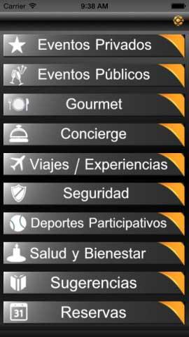Captura de pantalla de la aplicaciA?n de Cyrca para iPhone, donde se muestran las distintas categorAi??as de experiencias que oferta el club.