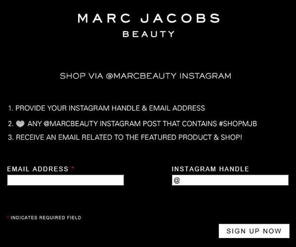 Formulario para registrarse en la tienda de productos de belleza de Marc Jacobs a travAi??s de Instagram.
