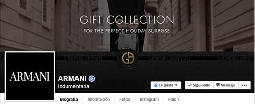 Captura de pantalla de la fan page de Armani en Facebook.