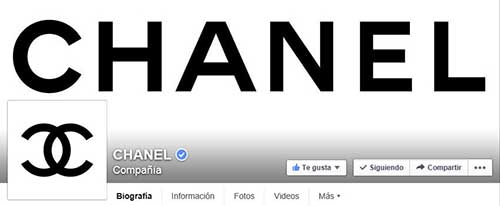 Captura de pantalla de la fan page de Chanel en Facebook.