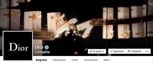 Captura de pantalla de la fan page de Dior en Facebook.