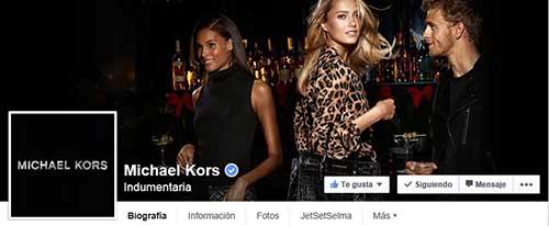 Captura de pantalla de la fan page de Kors en Facebook.