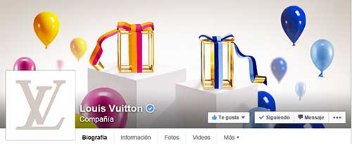 Captura de pantalla de la fan page de Vuitton.