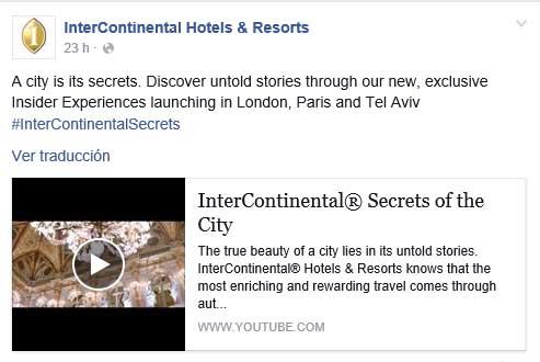 Post compartido ayer en Facebook con el enlace al vAi??deo y el con hashtag #InterContinentalsecrets