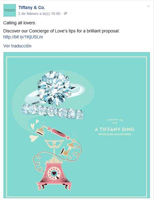 La campaAi??a Concierge of Love en el perfil de Tiffany en Facebook.