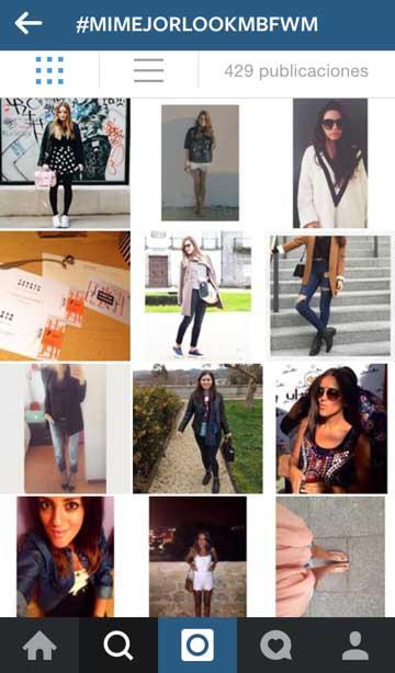 Captura de pantalla de las fotos compartidas en Instagram con el hashtag del concurso, #mimejorlookMBFWM.